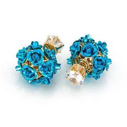 Kolczyki róże niebieskie - NIEBIESKIE