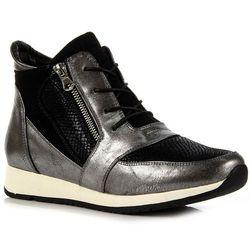 SERGIO LEONE czarno-srebrne buty damskie sportowe z brokatem - czarny / srebrny
