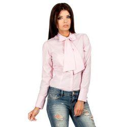 Koszula w Różową Kratkę z Wiązaną Kokardą