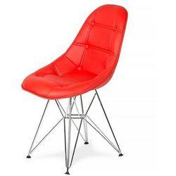 Krzesło DSR Ekoskóra - Krwisty czerwony, nogi metalowe.