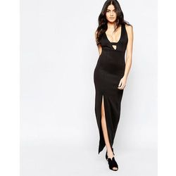 Twin Sister Maxi Dress with Plunge Notch Neckline - Black