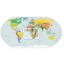 Naklejka Globalna mapa polityczna świata, wektor