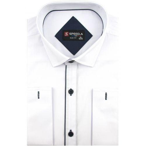 Koszula Męska Speed.A gładka biała SLIM FIT z podwójnym