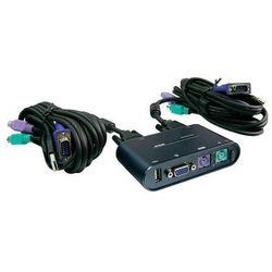 Rozdzielacz KVM + USB, PS/2, 2 x złącze monitora, myszy, klawiatury