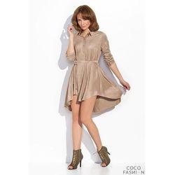 Beżowa Koszulowa Sukienka Szmizjerka