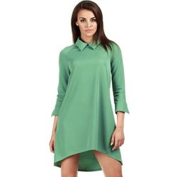 Zielona Asymetryczna Sukienka z Kołnierzykiem