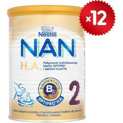 Zestaw 12x NESTLE NAN HA 2 400g Mleko modyfikowane następne z B.Lactis