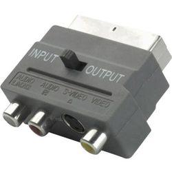 Przejściówka, adapter Scart Vivanco 33713 Adapter S-VHS Mini-DIN / Scart, [1x Złącze męskie SCART - 3x Złącze męskie cinch, Złącze męskie DIN], Czarny, Z uchwytem, 0 m, Rodzaj złącza: proste