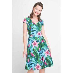 e4edf392 Zielona rozkloszowana sukienka w kwiaty