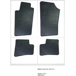 Dywaniki gumowe czarne z kompletem stoperów - Peugeot 206 1998-2012