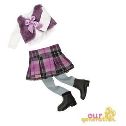 Zestaw ubranek - z futrzaną kamizelką i spódniczką w szkocką kratę