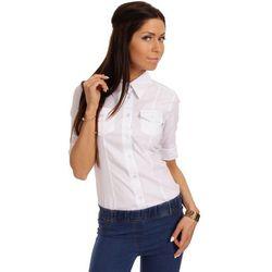 Biała Taliowana Koszula z Krótkim Rękawem z Mankietem
