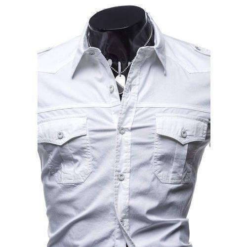 Koszula męska elegancka z krótkim rękawem biała Denley 078N
