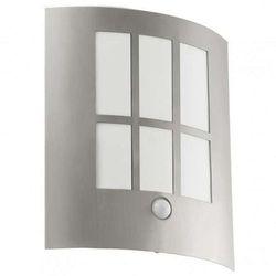 Zewnętrzna LAMPA ścienna CITY LED 94213 Eglo metalowa OPRAWA ogrodowa LED z czujnikiem ruchu IP44 outdoor stal biały