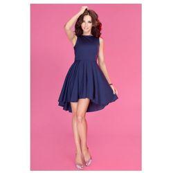 Ekskluzywna sukienka z dłuższym tyłem - Granatowy 33-3 - najtaniej!
