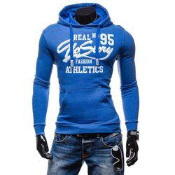 Niebieska bluza męska z kapturem z nadrukiem Denley 6215 - NIEBIESKI Bluzy 49,99 - 03.10.15 (-17%)