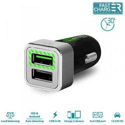 PURO Mini Car Fast Charger - Uniwersalna ładowarka samochodowa 2 x USB 2.4 A z niebieskim podświetleniem LED square (czarny)