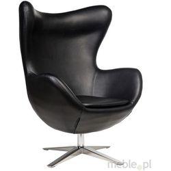 Fotel Jajo wykonany w skórze ekologicznej w kolorze czarnym