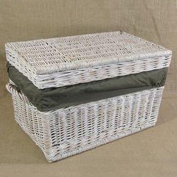 Kufer płaski przecierany biały z obszyciem ciemne khaki ( 4 wymiary )