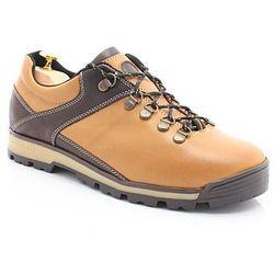 KENT 290 ŻÓŁTY - Trekkingowe buty męskie 100% skórzane