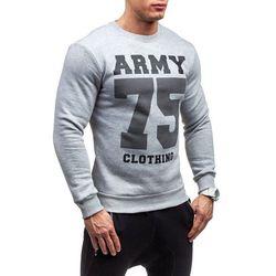 Szara bluza męska bez kaptura z nadrukiem Denley 0593 - SZARY