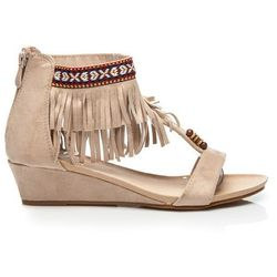 Zamszowe sandały boho Alisa - odcienie brązu i beżu