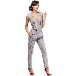 Elegancki kombinezon - spodnium bez rękawów szary MOE196