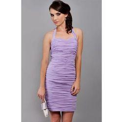 Klasyczna drapowana sukienka z szyfonu Arena Stylu, wrzos 923 -4