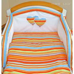 MAMO-TATO 4-el pościel flanelowa do wózka Serduszka w paseczkach pomarańczowych