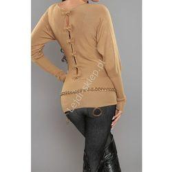 Sweter nietoperz z kokardkami na plecach, kamelowy beż | swetry damskie