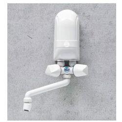 DAFI Nadumywalkowy elektryczny przepływowy podgrzewacz wody IPX5 5,5kW z białą baterią
