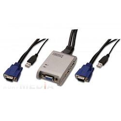 Mini przełącznik KVM USB, 2-portowy, Digitus