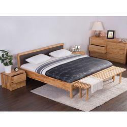 Podwójne łóżko drewniane ze stelażem 180x200 cm, brązowe CARRIS