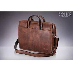 Klasyczna męska torba na ramię, na laptop SOLIER S13 brązowa