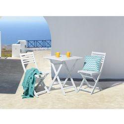 Meble ogrodowe białe – ogród – taras – stół z 2 krzesłami - FIJI