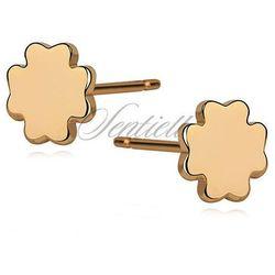 Srebrne kolczyki koniczynki pozłacane - Żółte złoto