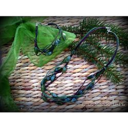 Komplet- nefryt na sznurkach
