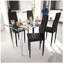 4 wysokie czarne krzesła do jadalni + stół ze szklanym blatem Zapisz się do naszego Newslettera i odbierz voucher 20 PLN na zakupy w VidaXL!