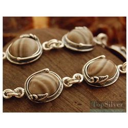 ARCO - srebrna bransoletka z krzemieniem pasiastym
