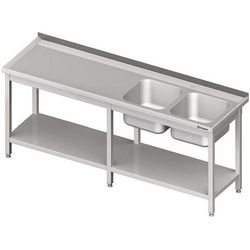 Stół ze zlewem dwukomorowym z półką spawany STALGAST 2800x700x850 prawy