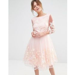 Chi Chi London Premium Midi Prom Dress with Embrodery - Pink