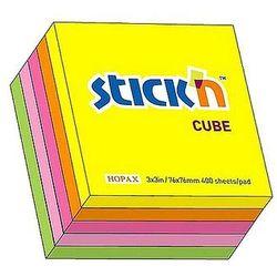 Kostka samoprzylepna 76x76mm Stick'n 5 kolorów neonowych 400 kartek