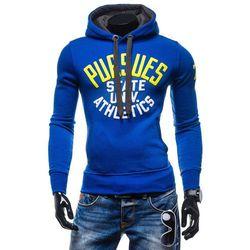 Niebieska bluza męska z kapturem z nadrukiem Denley 1032 - NIEBIESKI Bluzy 49,99 - 03.10.15 (-17%)