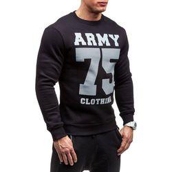 Czarna bluza męska bez kaptura z nadrukiem Denley 0593 - CZARNY