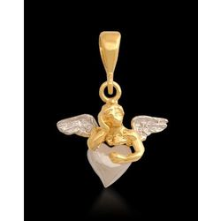 Aniołek z sercem złoty wisiorek