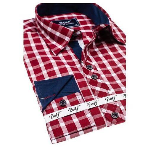 02b28954b0eab5 Koszula męska elegancka w kratę z długim rękawem bordowa Bolf 4747 ...