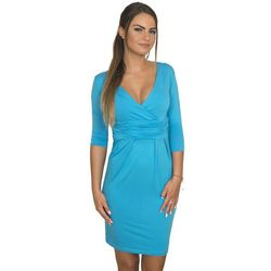 Sukienka dopasowana z odcięciem pod biustem turkusowa - Niebieski