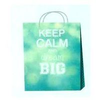 Torebka prezentowa 32 x 40 x 12 cm turkusowa keep calm and dream big