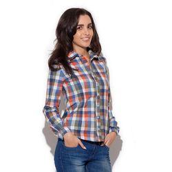 Delikatnie Taliowana Koszula Damska w Kolorową Kratkę