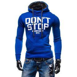 Niebieska bluza męska z kapturem z nadrukiem Denley 1080 - NIEBIESKI Bluzy 49,99 - 03.10.15 (-17%)